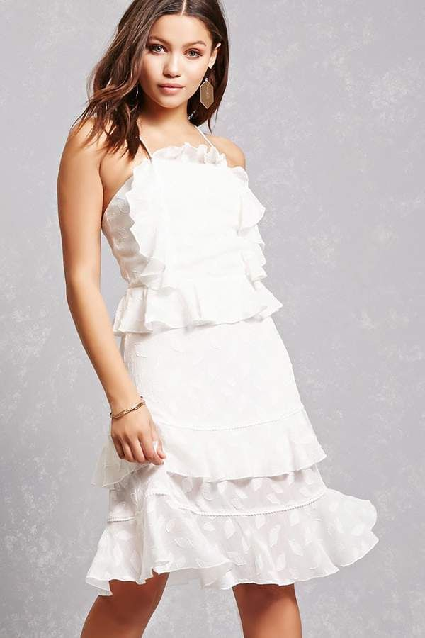Forever 21 Dark Pink Tiered Ruffle Dress Beautiful