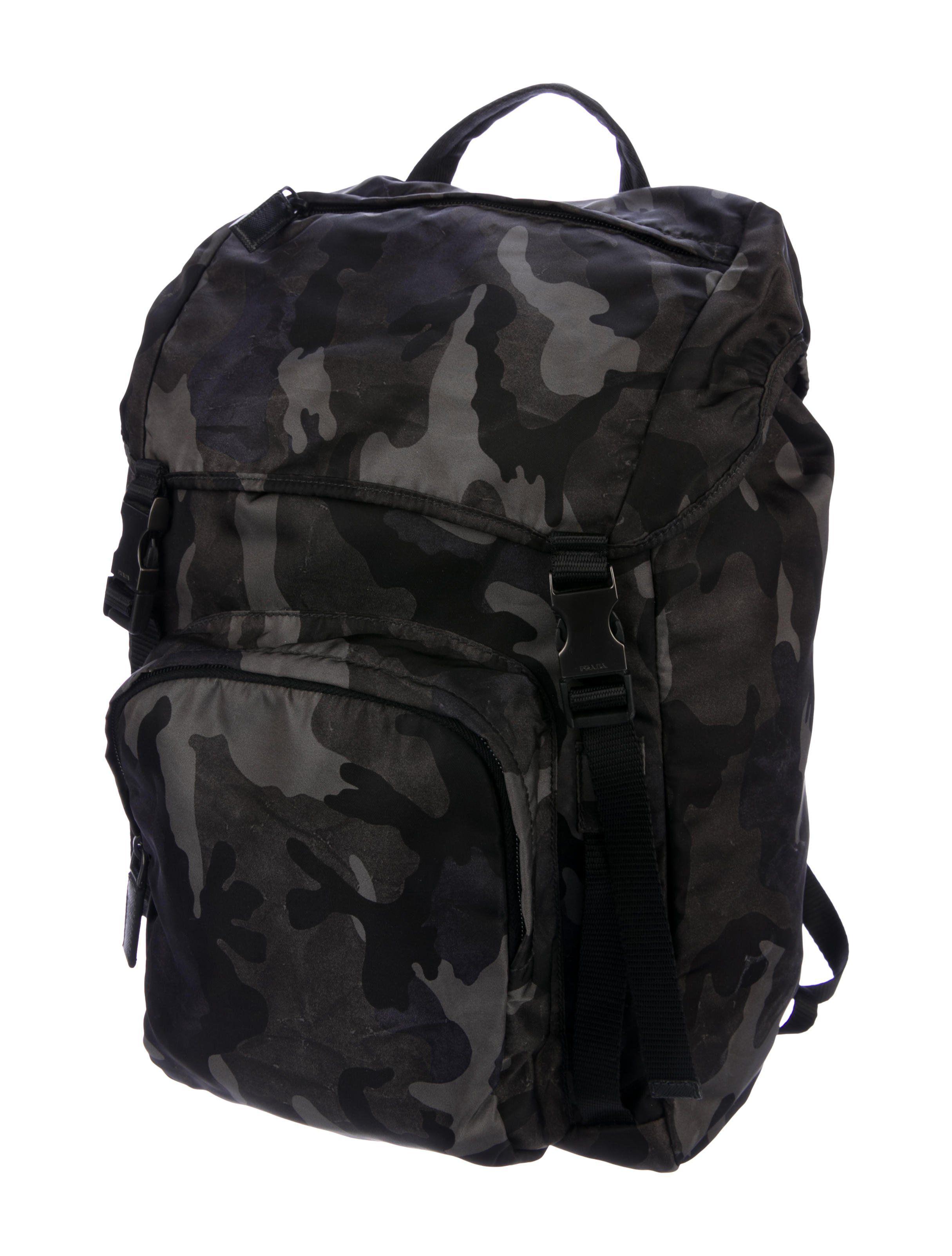 Men s charcoal and multicolor Tessuto nylon Prada Camouflage backpack with  gunmetal hardware f6682e35e399a