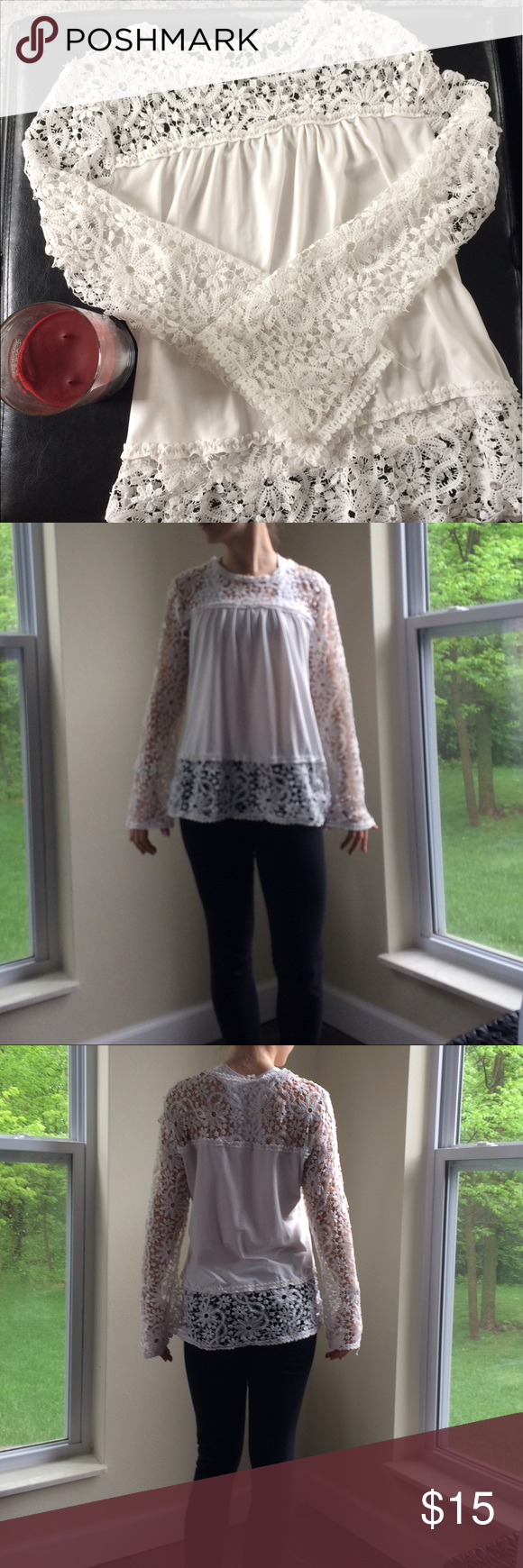 White lace shirt Beautiful white shirt with floral lace sleeves Tops Tees - Long Sleeve