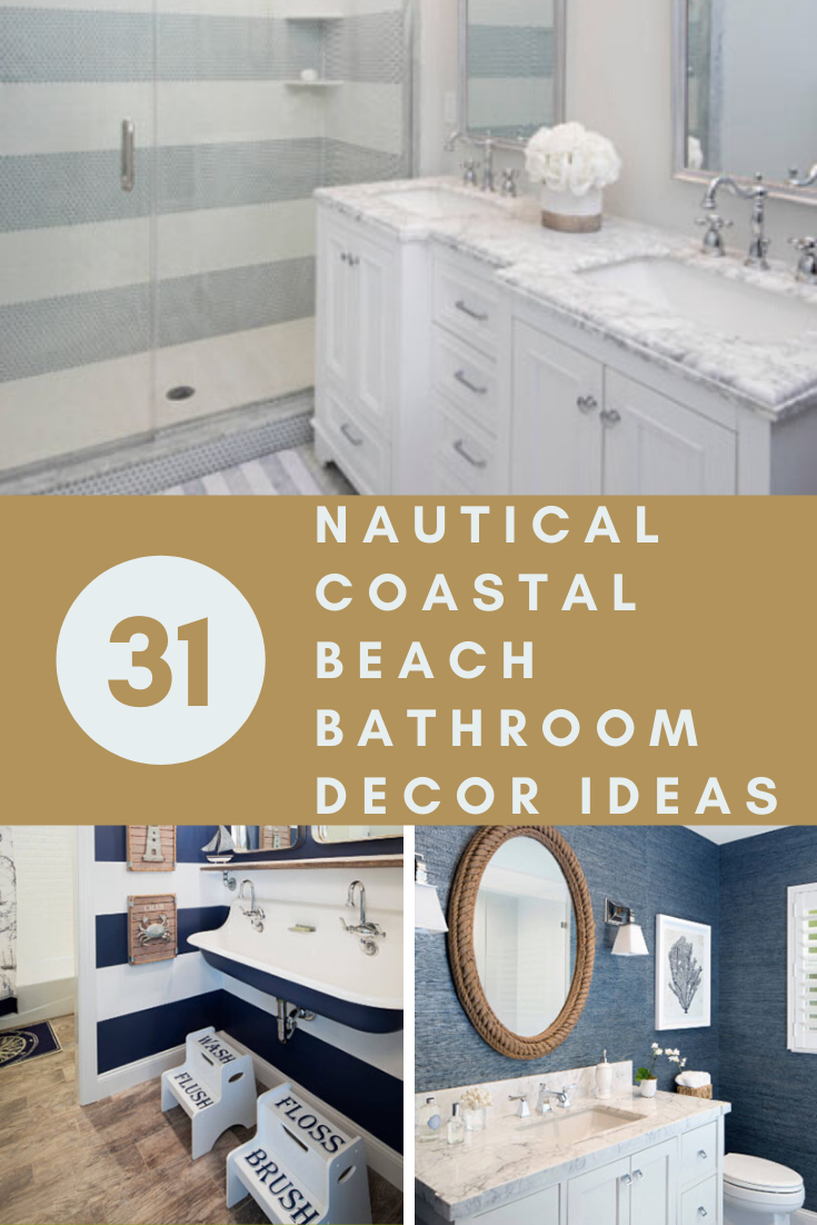 31 Nautical Coastal Beach Bathroom Decor Ideas In 2020 Beach