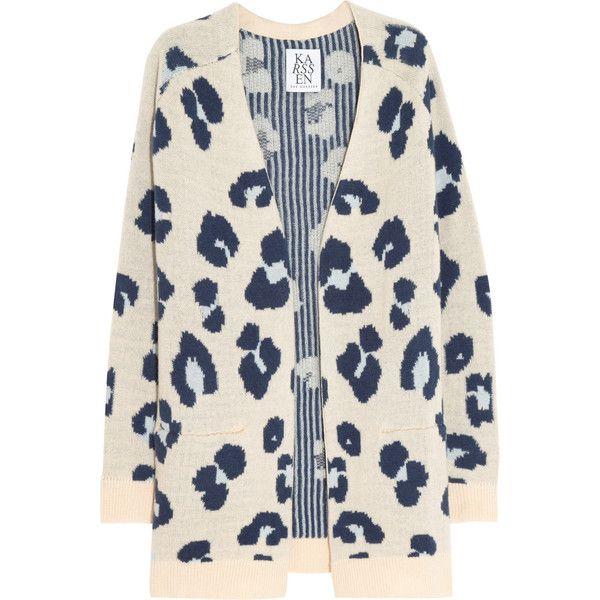 Zoe Karssen Leopard-intarsia cashmere cardigan found on Polyvore