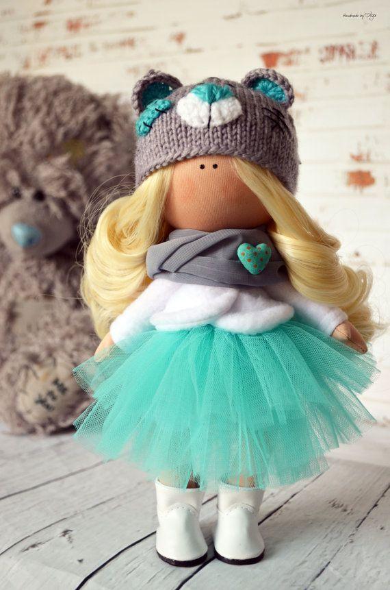 Fabric doll Interior doll Baby doll Art doll Handmade doll Green doll Tilda doll Soft doll Decor doll Cloth doll Nursery doll by Olga S