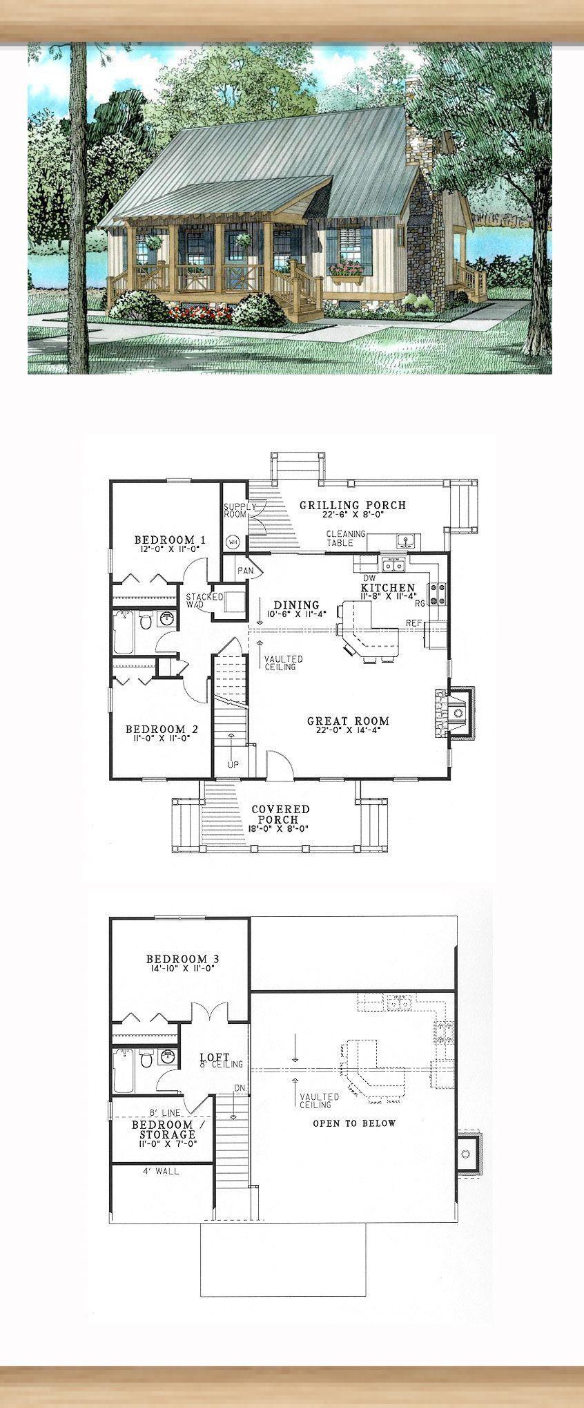 Plano De La Casa 62115 En Estilo Sureno Con 3 Camas 2 Banos Banos Camas Casa Con Estilo Plano Su Basement House Plans Hillside House Small House Plans
