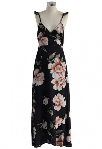 Mitternachtsblumen - Langes Kleid gewickelt   Lange ...