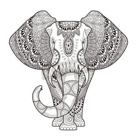 graceful elephant coloring illustration mural wallpaper  cowork in 2019  printable adult