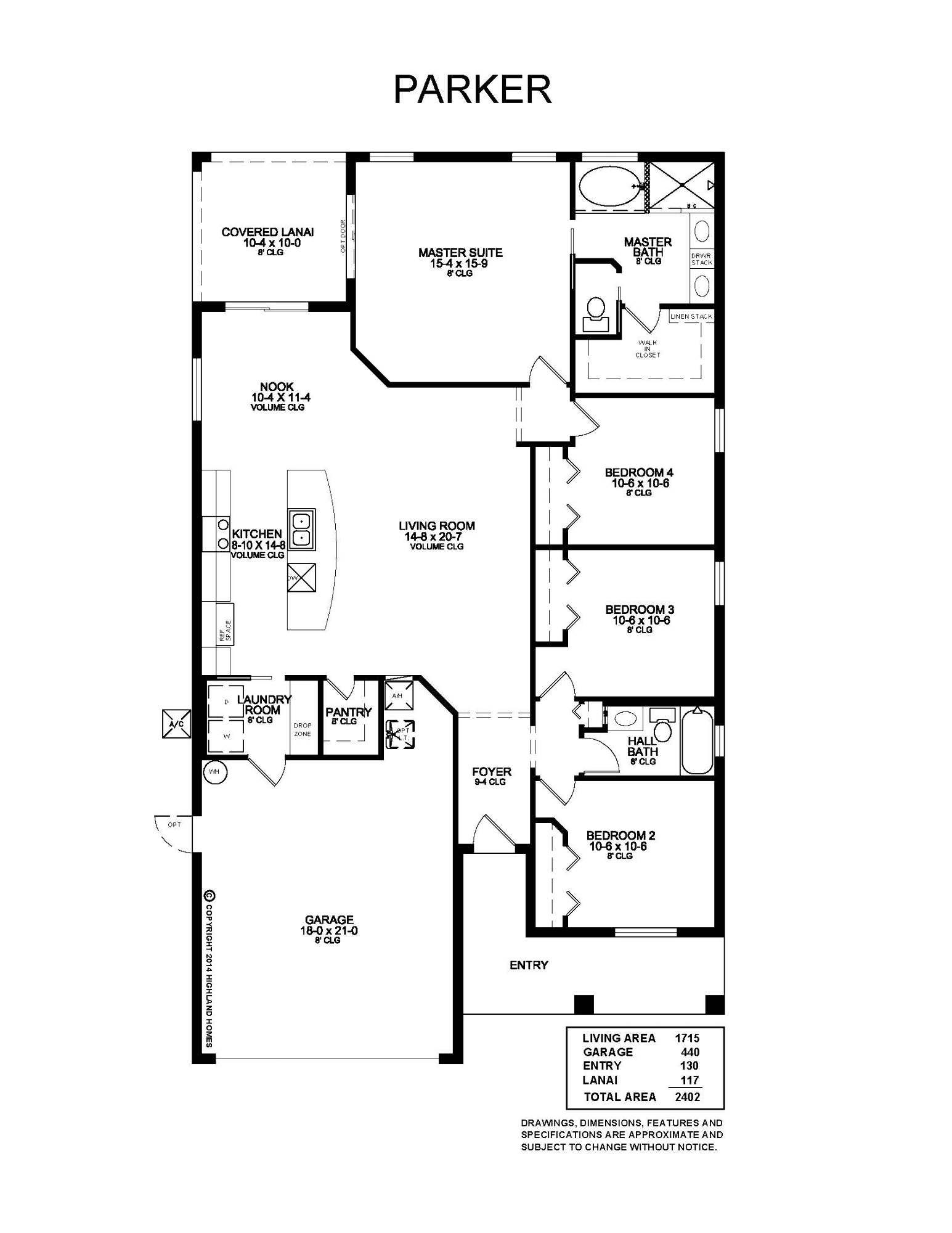 Parker Home Floor Plan at Highland Meadows in Davenport FL