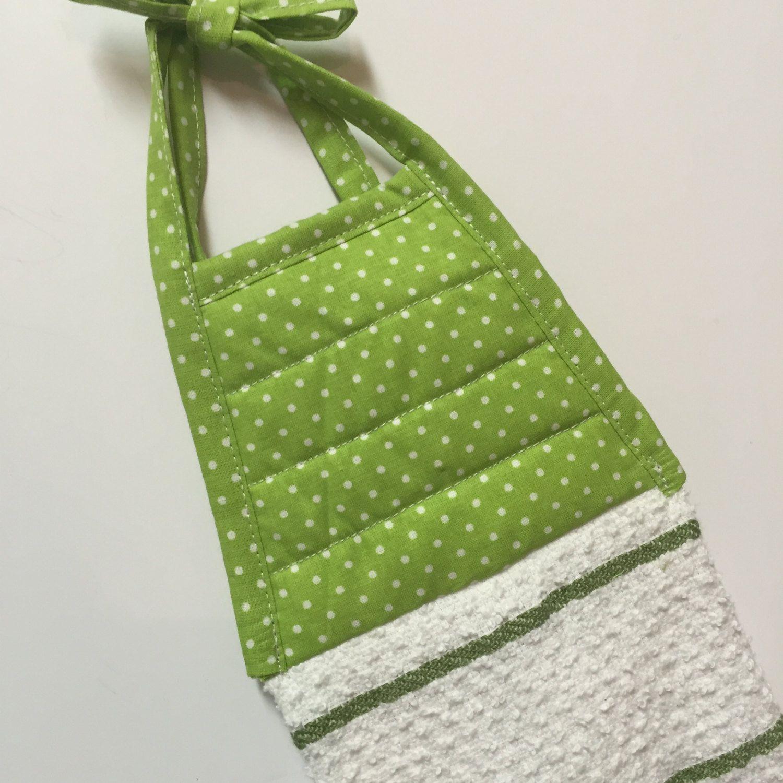 Items Similar To Green Polka Dots   Green Dot Towel  Green Kitchen Towel    Green Stripe Towel   Hanging Tie Towel  Gift For Her   Dormatory Towel    Greenery ...