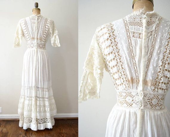 Vintage 1900s Dress Edwardian Wedding Dress / By