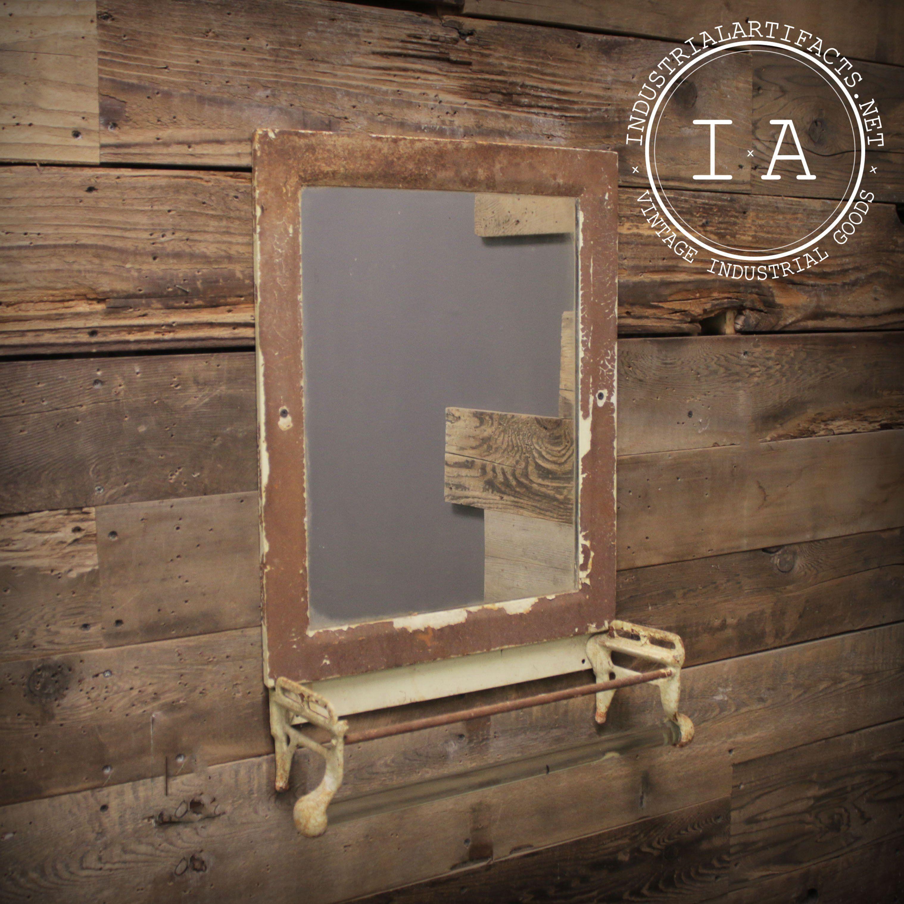 Vintage Shabby Chic Bathroom Vanity Mirror with Towel Rod  #shabbychicbathroomsvanity
