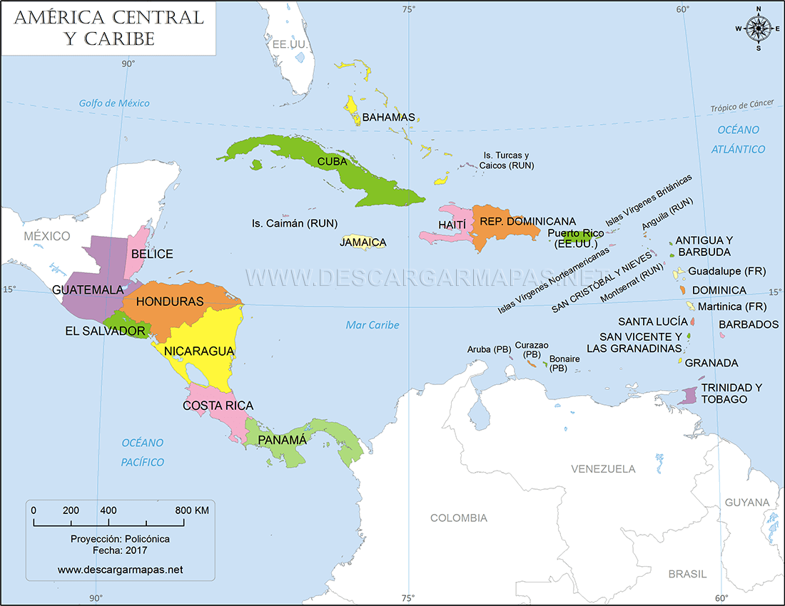 Mapa De America Central Y Caribe Descargar Mapas Map Jesus