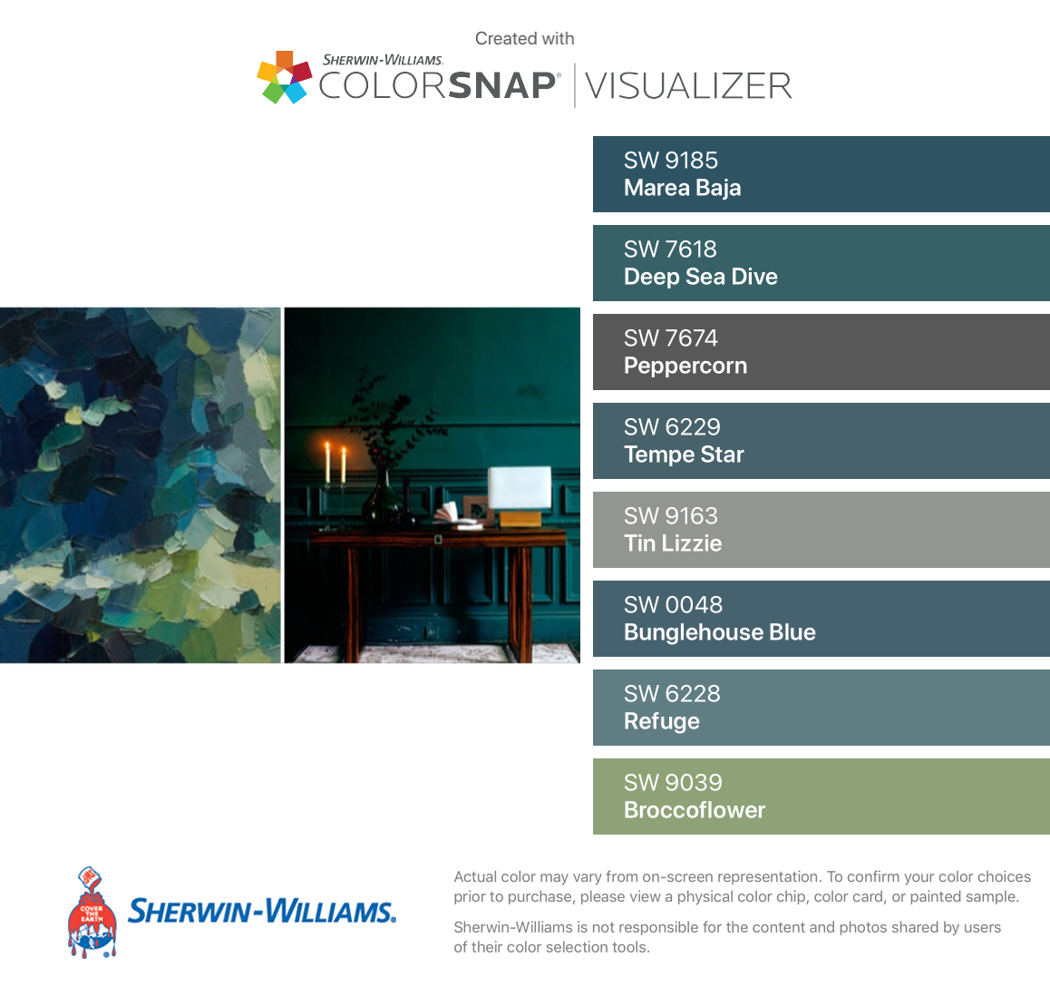 I Found These Colors With Colorsnap Visualizer For Iphone By Sherwin Williams Marea Baja Sw 9185 Deep Sea Dive Sw 7618 Peppercorn Sw Blue Green Paints Sea Green Bedrooms House Colors
