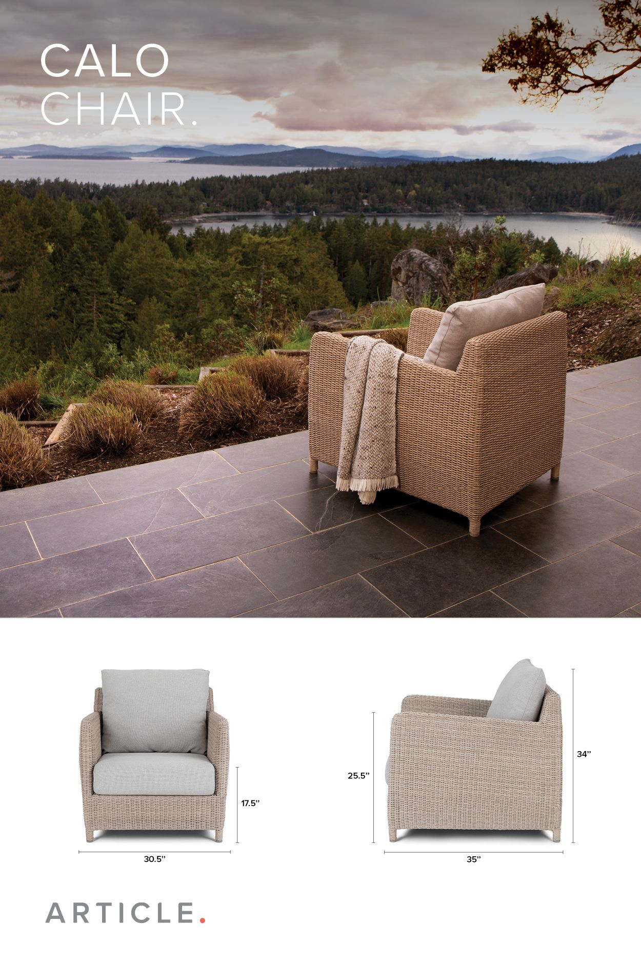 faux wicker outdoor lounge chair / Article Calo outdoor furniture ...
