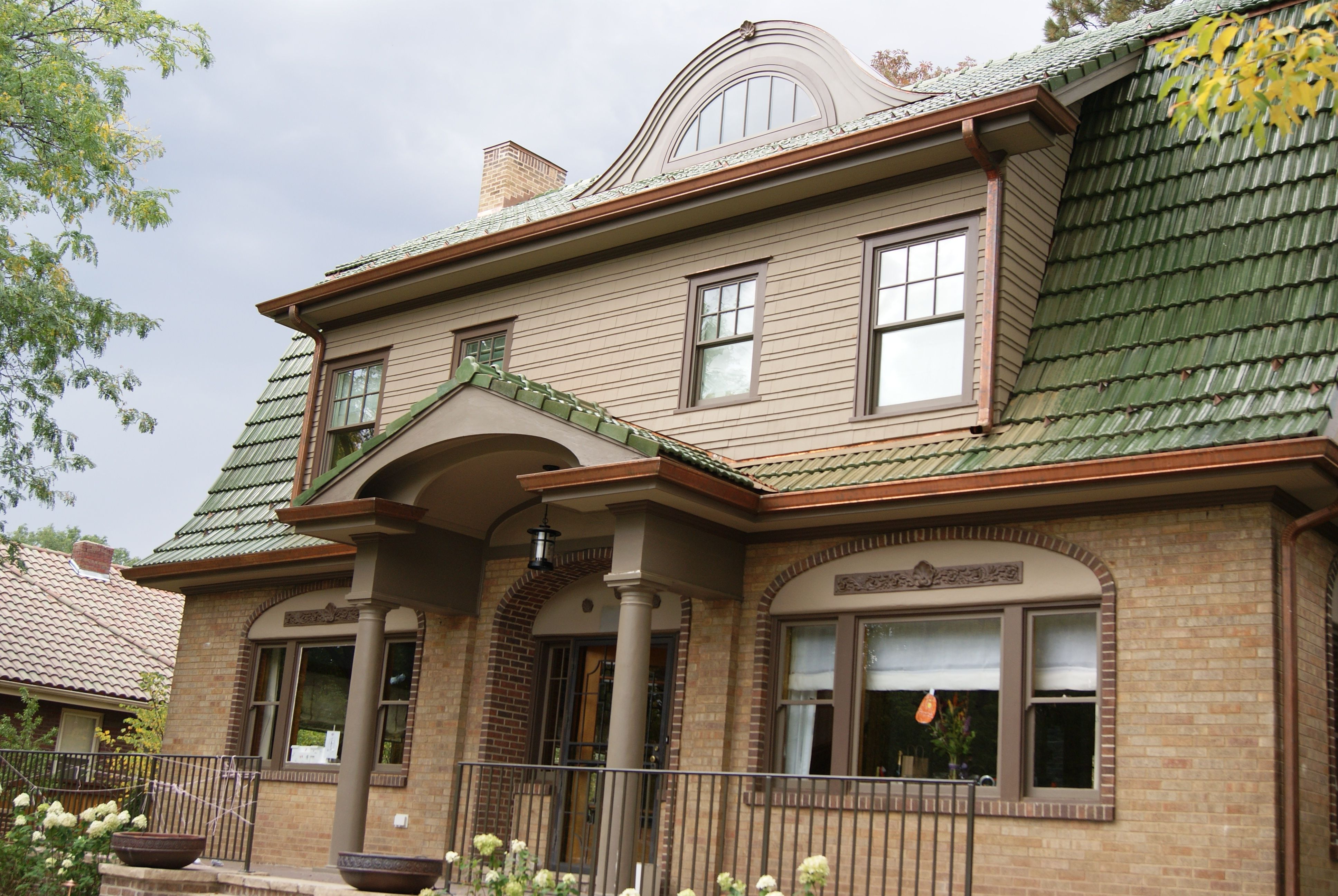 Brookfield green Ludowici French tile roof. Copper barrel ...