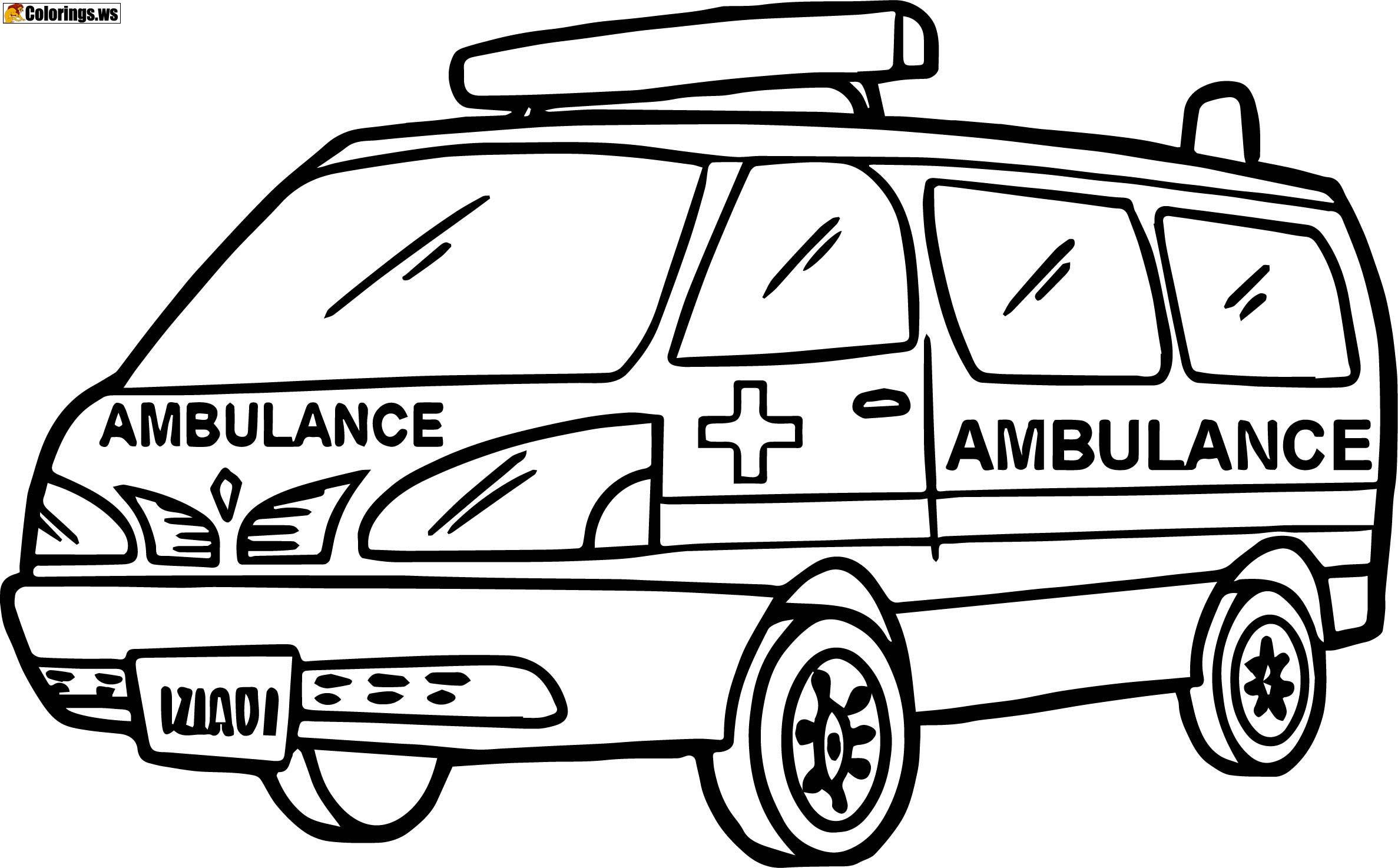 Ambulance Car Coloring Pages