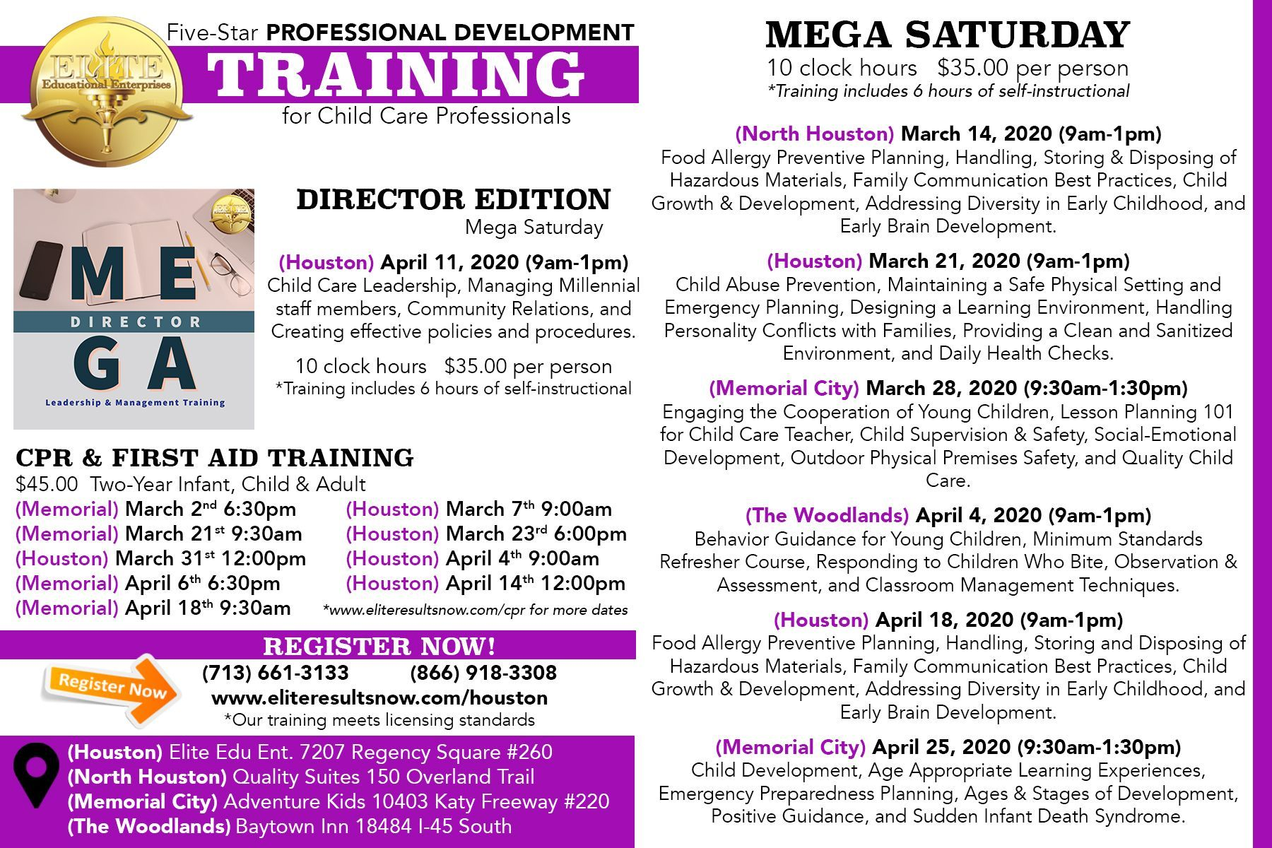 Join us for mega saturday child care training in the