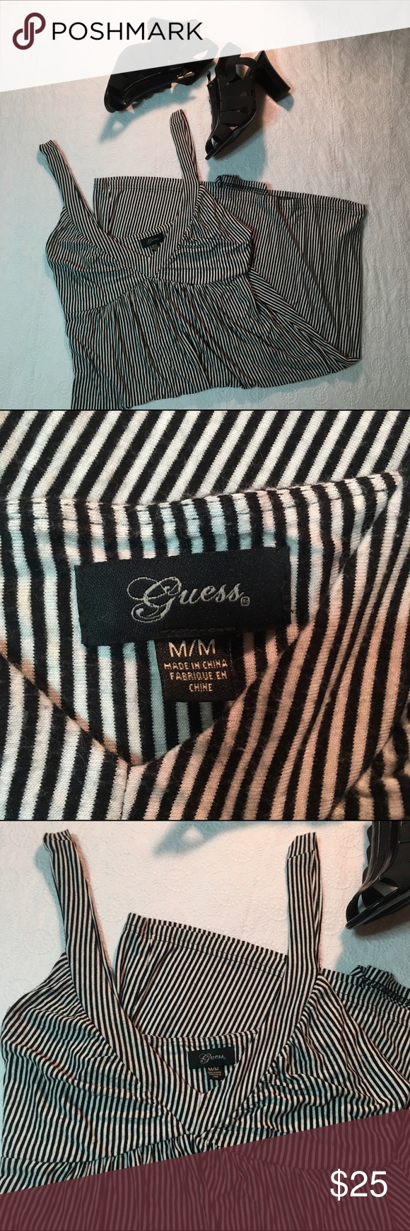 Black and white striped Guess dress size medium Gorgeous stripes on an even more gorgeous dress? Who would've GUESSed? This dress is absolutely gorgeous for summer or spring or any season really! With heels or boots this is so cute! VERY gently used in great condition! Size medium! Fits true to size! Perfect CHRISTMAS present!! offers accepted! 😍😍 Guess Dresses
