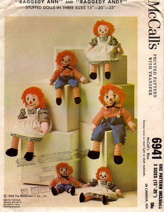 McCalls 6941 1960s Raggedy Ann Andy Pattern Stuffed Rag DOLL and ...