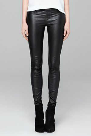 Black leather leggings zara