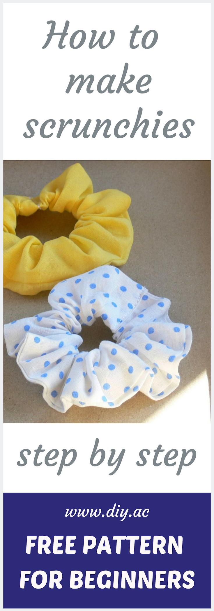Free sewing pattern for beginners - SCRUNCHIES DIY #scrunchiesdiy