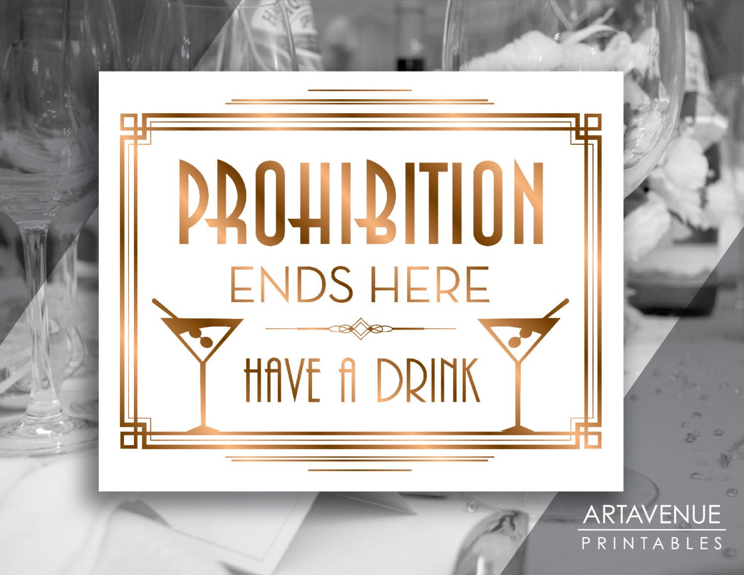 Gatsby Prohibition Printable Art Gatsby Wedding Art Deco Party – Art Deco Party Invitations