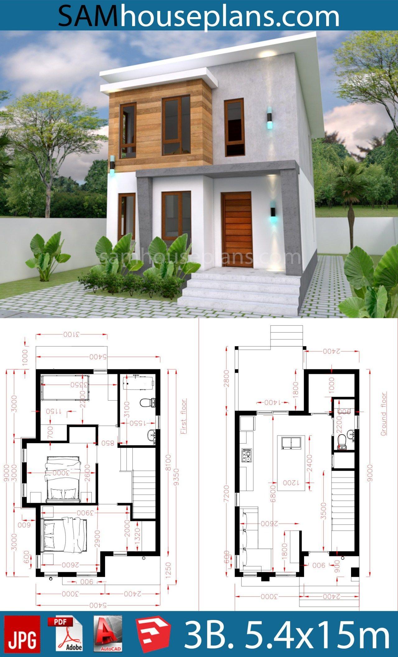 House Plans 5 4x10m With 3 Bedroom Sam House Plans Village House Design Model House Plan Architectural House Plans