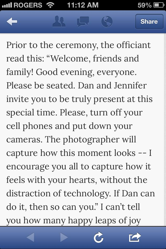 Unplugged Ceremony While I Like The Idea Of This Its Actually A Bit Rude To Try Dictate Your Guests Behavior Says Dont Trust You