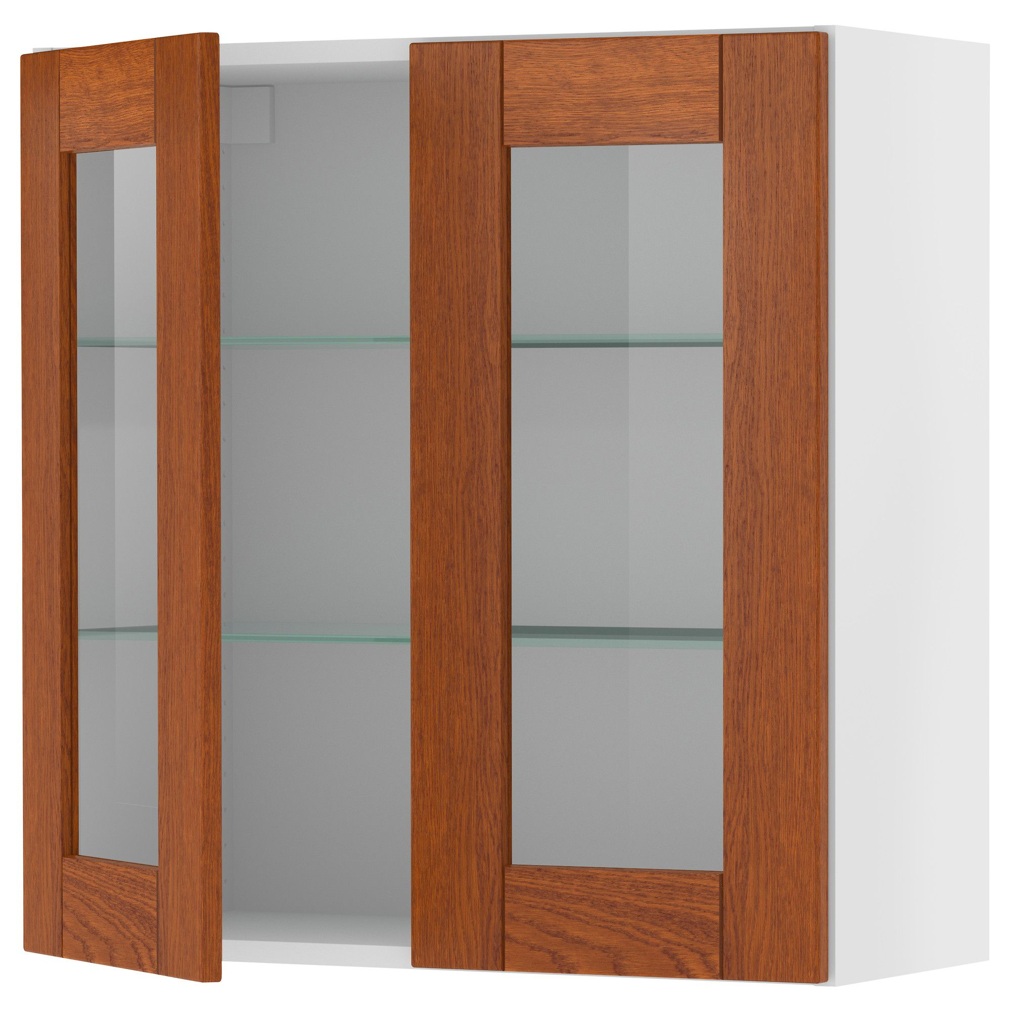 Akurum Wall Cabinet With 2 Glass Doors Birch Effect Lixtorp Brown 30x30 Ikea Little Free