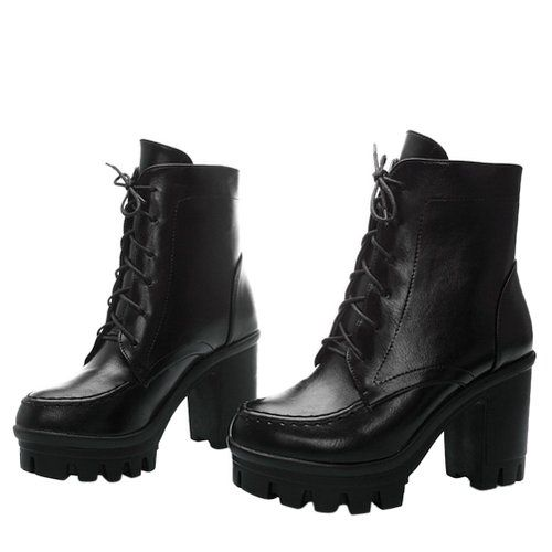 Big Size Chunky Heel Ankle Lace Up Pure Color Boots is hot-sale. Come to  NewChic to buy womens boots online.