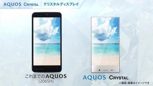 """Aquos Crystal, un smartphone sin marco  Sharp ha presentado Aquos Cristal, un smartphone con un marco ínfimo salvo una pequeña franja en la parte inferior donde se encuentra el micrófono, la cámara y los sensores, esta gama cuenta con 2 terminales uno con una pantalla de 5"""", un procesador Snapdragon 400 y 1,5GB de RAM y un segundo terminal de 5,5"""" con procesador Snapdragon 801 y 2 GB de RAM."""