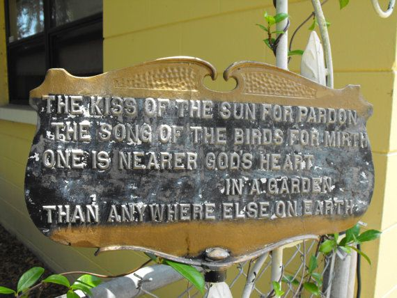 Vintage Cast Iron Garden Sign With Poem Made By Moultrie Mfg Co