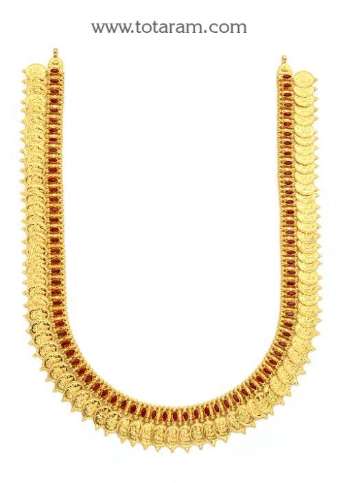 22K Gold Lakshmi kasu Long Necklace Totaram Jewelers Buy Indian
