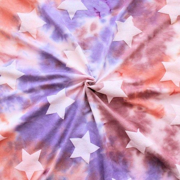 """Viskose Stretch Jersey """"Batik Big Stars"""" Farbe Lila-Violett Lachs"""