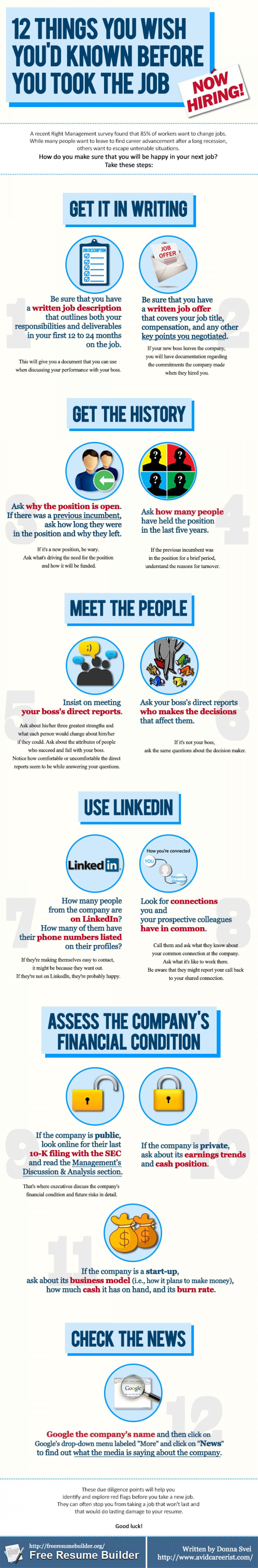 How To Make A Resume For A Job 12 Things You Wish You'd Known Before You Took That Job Infographic .