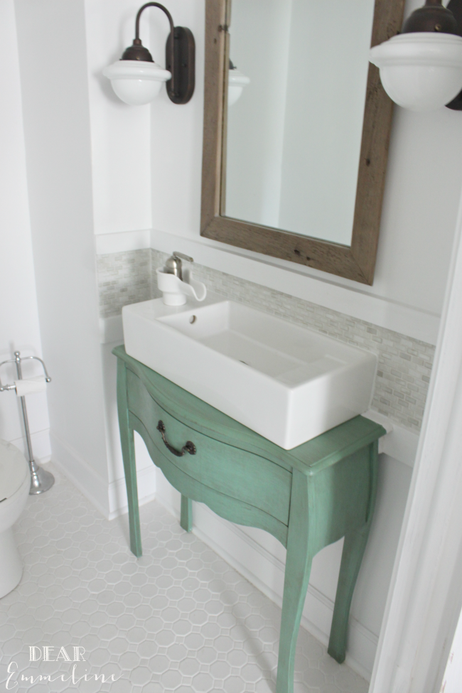 Before After Jessica S Gorgeous Narrow Half Bathroom Small Bathroom Vanities Small Bathroom Sinks Bathroom Sink Diy