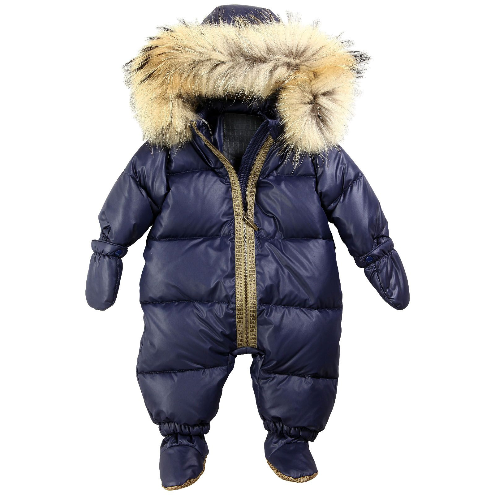 Padded Jumpsuit Mittens And Bootees Fendi For Babies