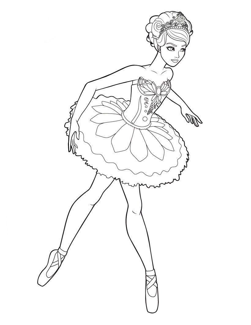 Barbie Com Saia Frufru Bailarina Para Colorir Paginas Para