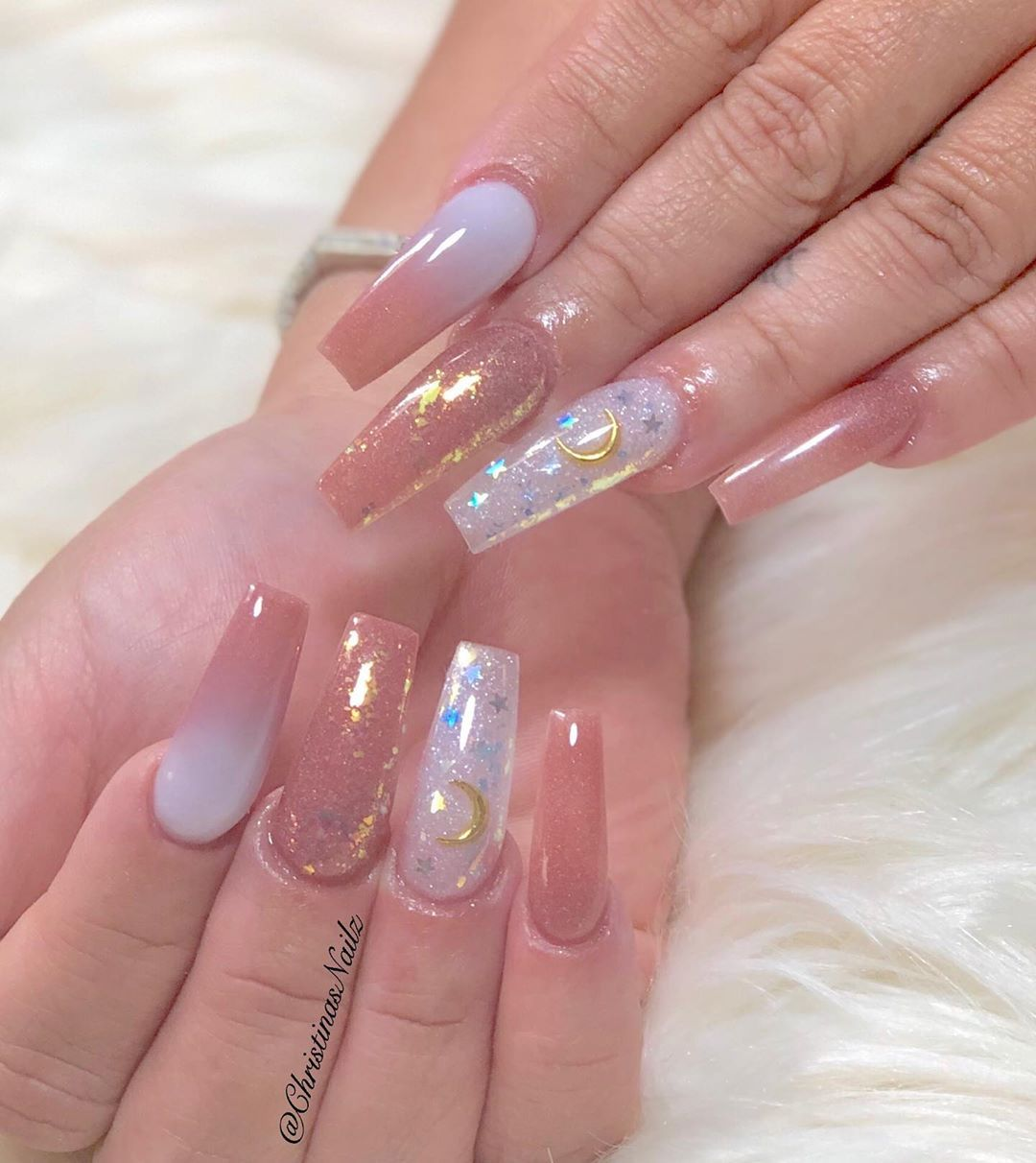 Christinas Nailz On Instagram Omgeee Y All Love These Moon And Stars So Cute 559nails 559fresnonails Fresnonailsal Nails Swag Nails Moon Nails