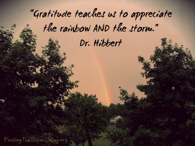 "Image result for ""Gratitude teaches us to appreciate the rainbow AND the storm"""