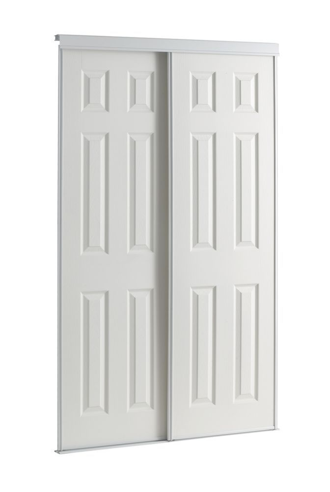 48 Inch White Framed 6 Panel Sliding Door Basement