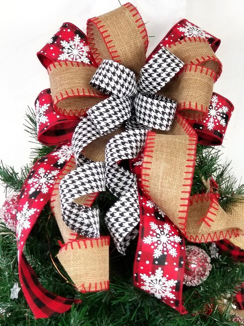 Rustic Farmhouse Tree Topper Bow Christmas Buffalo Plaid and | Etsy -   14 rustic christmas tree topper burlap bows ideas