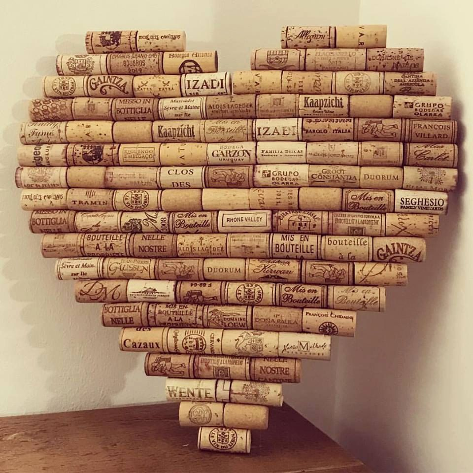Heart shaped cork memo board made from recycled wine corks for Heart shaped bulletin board