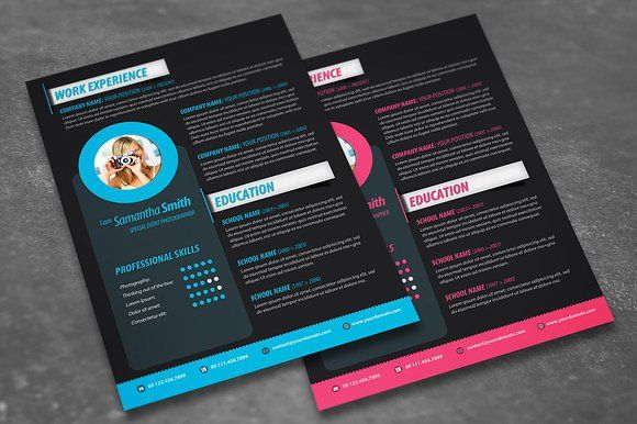 ATTRACTIVE CV TEMPLATE 2 COLORS INCLUDED! Perfect for - attractive resume templates