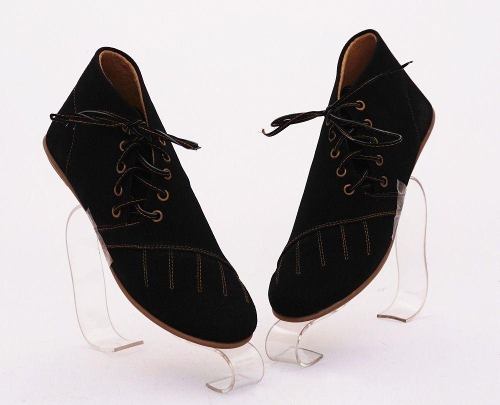 Sepatu Boot Keren Stylish Model Tali Pinggir Warna Hitam Bahan