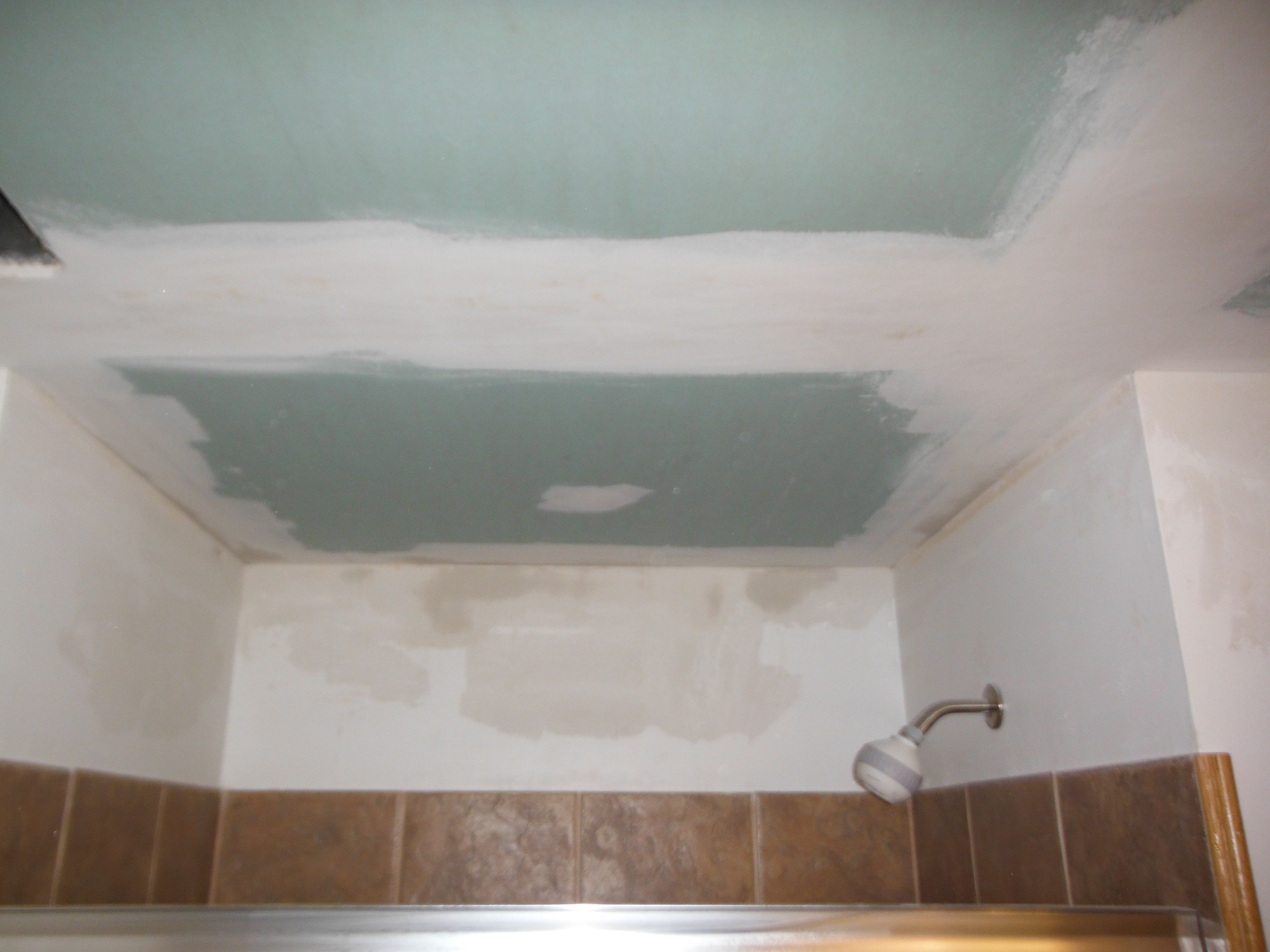 Drywall Repair In Basement Bathroom Complete Shot Over The Shower - Bathroom drywall repair