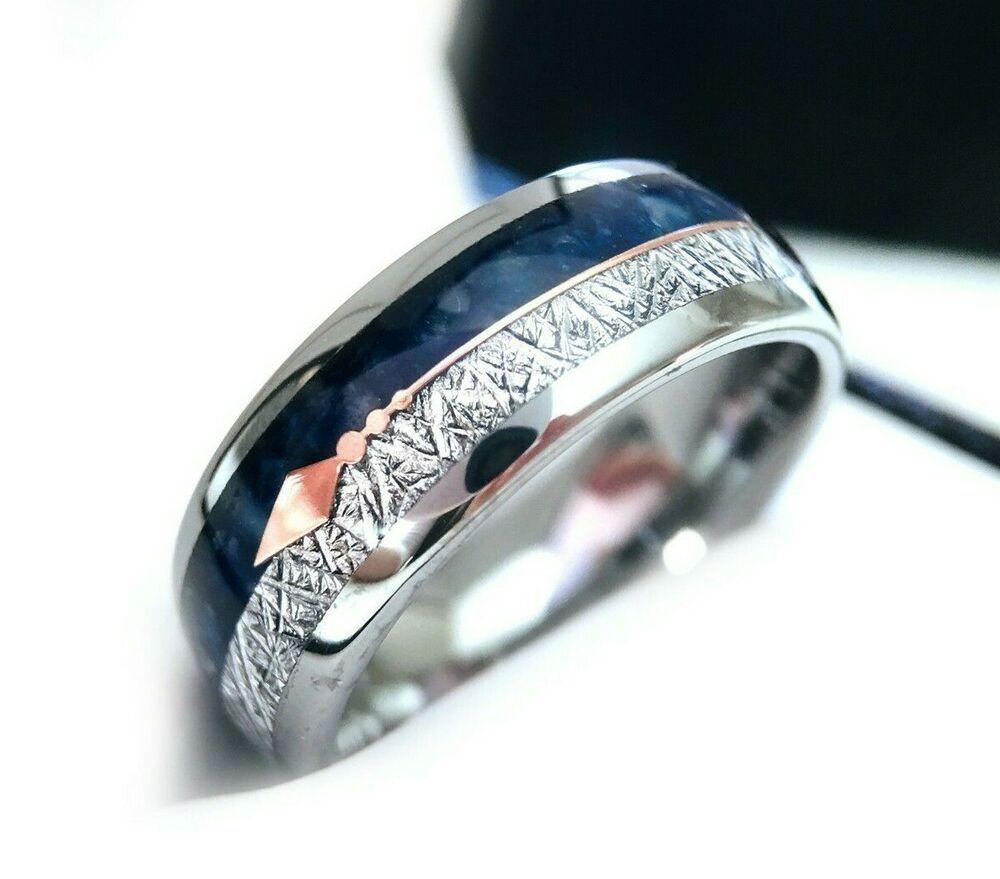 Meteorite Ring Blue Agate Rose Gold Arrow Inlay Ring Mens Women
