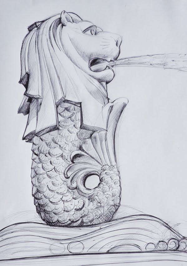 Merlion pen sketch art pinterest pen sketch for Merlion tattoo images
