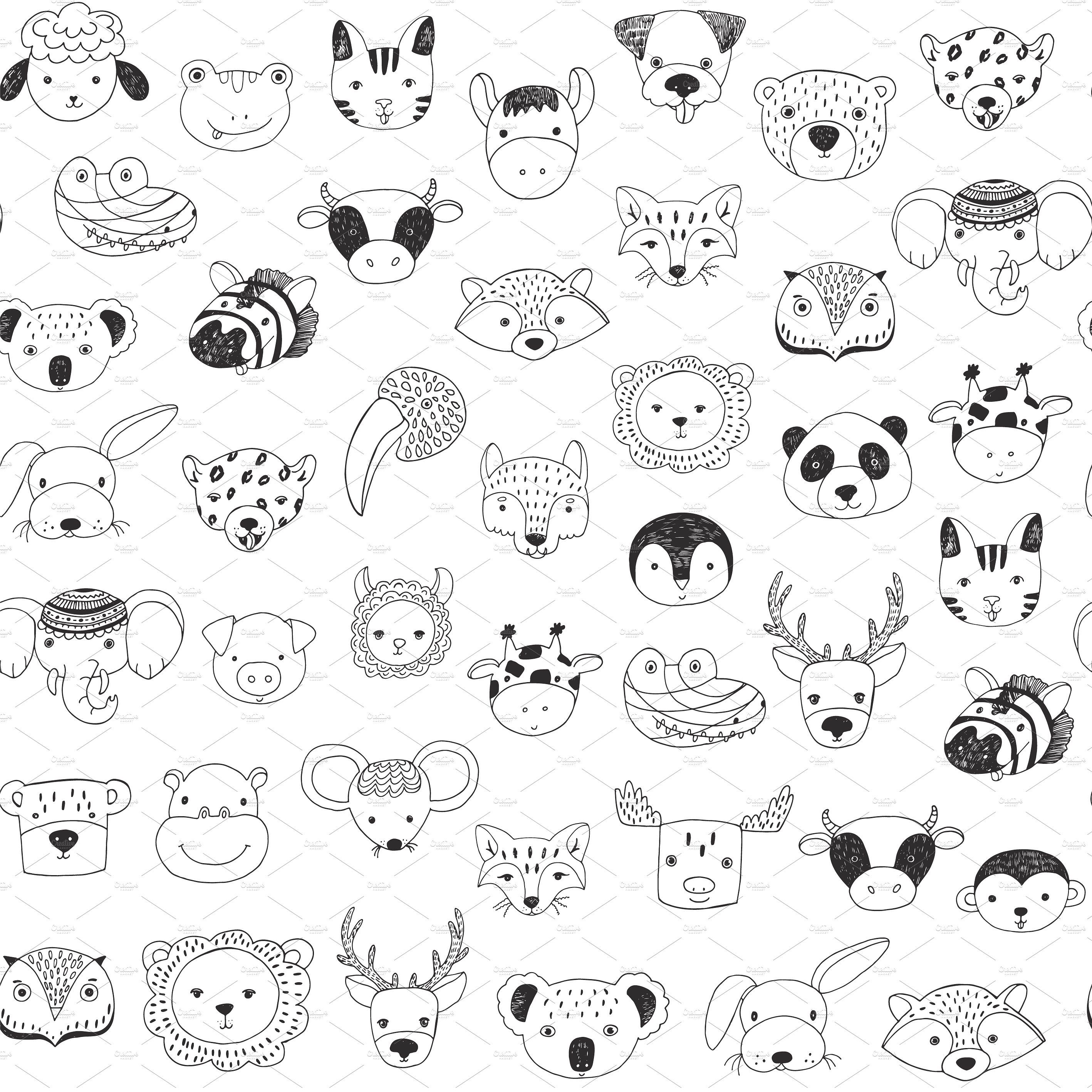 Animal Faces In Trendy Glasses Animal Doodles Baby Animal Drawings Doodle Illustration