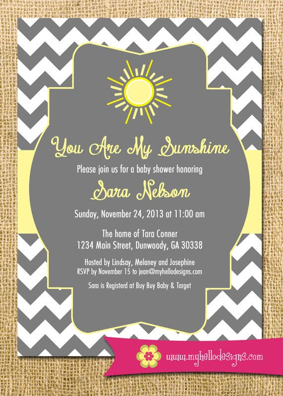 Printable Sunshine Invitation You Are My Sunshine Invite Diy