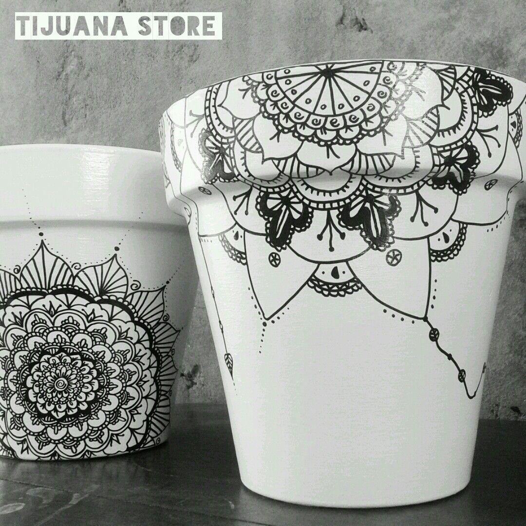 Mandalas macetas pintadas a mano by tijuana store ❤ | Mandala ...