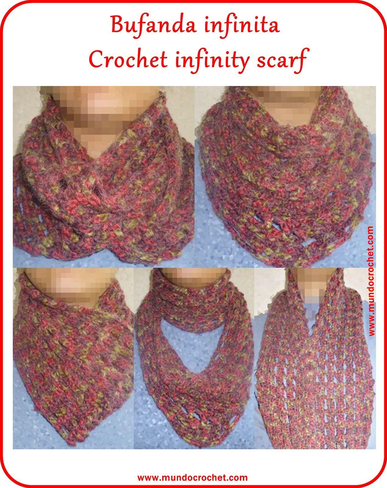 Bufanda infinita en crochet - Crochet infinity scarf | ШАЛИ, ШАРФЫ ...